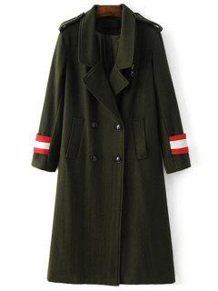 Military Style Wool Blend Coat - Army Green S