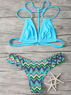 Spaghetti Straps Patcwork Geometric Print Bikini Set - Blue S