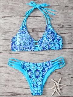 Halter Double Side Strappy Print Bikini Set - Blue L