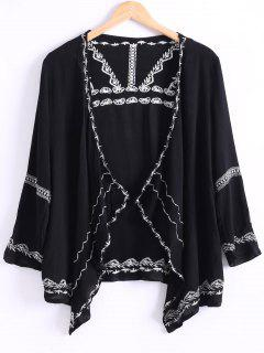 Retro Embroidery Long Sleeve Kimono - Black