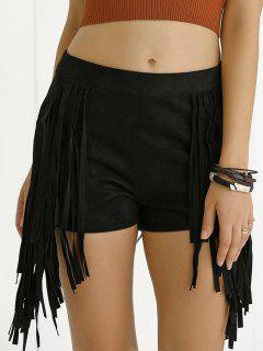 Tassels High Waisted Black Shorts - Black Xl