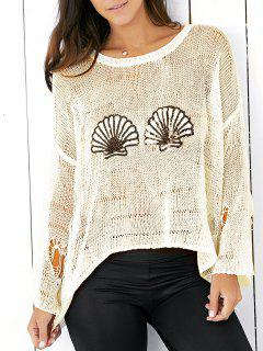 Sequins Ripped Sweater - Beige