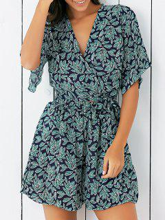 V Neck Leaf Print Cropped Blouse With Shorts - Green