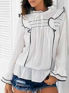 Dentelle Spliced Ruff Collar Blouse De Bell Sleeve - Blanc