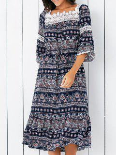 Lace Spliced Square Neck Flare Sleeve Printed Dress