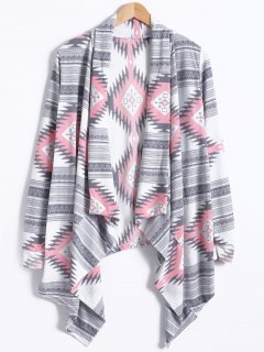 Geometric Pattern Long Sleeve Cashmere Cardigan - Light Gray M