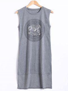 High Low Hem Sleeveless Elephant Print Dress - Gray L