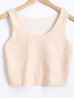 See-Through Faux Leather Spliced Tank Top - Apricot