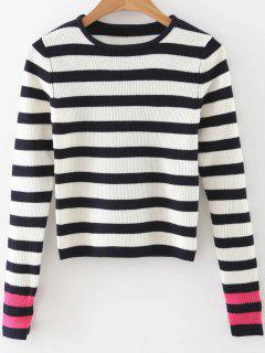 Long Sleeves Striped Sweater - Black And White And Red S