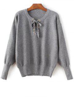 Blouson Sleeve Pullover Sweater - Gray