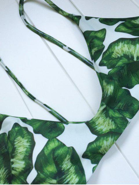 best Palm Leaf Print Bikini Set - WHITE AND GREEN M Mobile