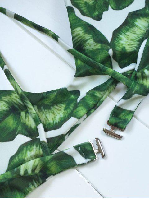 online Palm Leaf Print Bikini Set - WHITE AND GREEN S Mobile