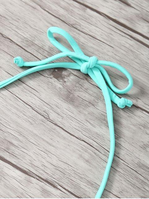 latest Halter Double Side Strappy Printed Bikini Set - BLUE L Mobile