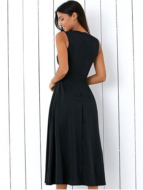 shops Sleeveless Round Neck Loose Fitting Midi Dress - BLACK M Mobile