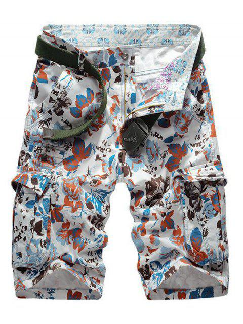 outfits Floral Print Multi Pockets Zipper Fly Cargo Shorts - RED 32 Mobile