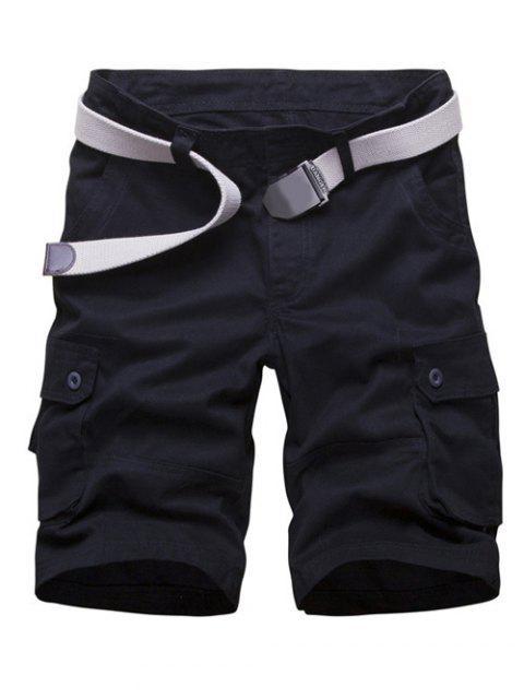 ladies Zipper Fly Multi Pockets Cargo Shorts - BLACK 30 Mobile