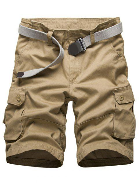 unique Zipper Fly Multi Pockets Cargo Shorts - KHAKI 34 Mobile