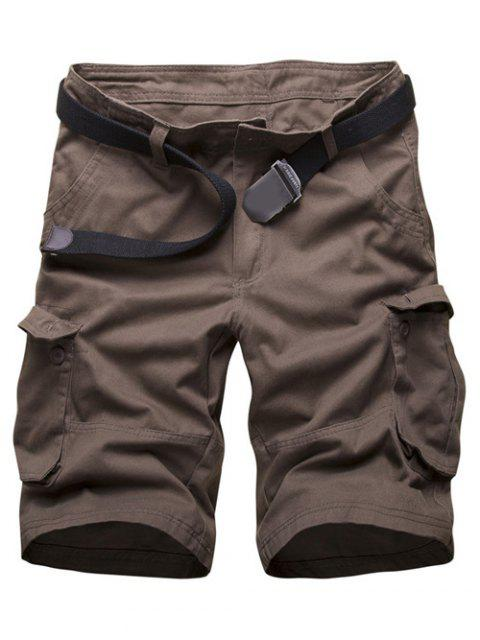 hot Zipper Fly Multi Pockets Cargo Shorts - COFFEE 32 Mobile