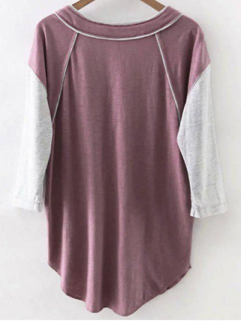 Hit couleur col V 3/4 T-shirt à manches - Bordeaux S Mobile