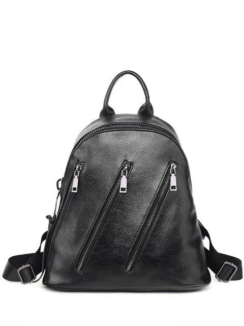 shops Metal Zippers Textured Leather Backpack - BLACK  Mobile