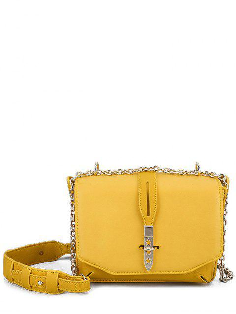 unique Hollow Out Stars Chain Crossbody Bag - YELLOW  Mobile