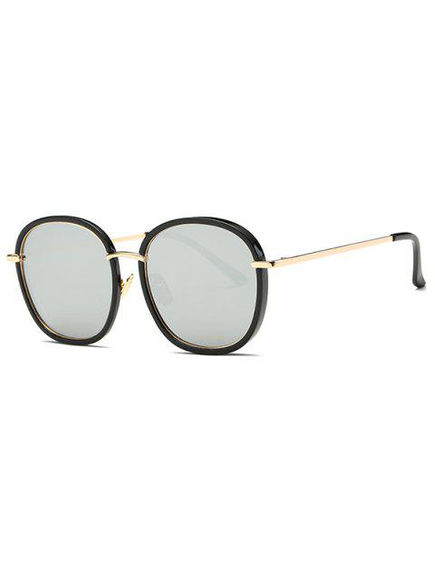unique Double Frame Oversized Mirrored Sunglasses - SILVER  Mobile