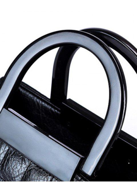 sale Plaid Pattern Chain PU Leather Tote Bag - BLACK  Mobile