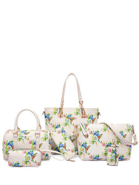 Métal Floral Print Zipper Shoulder Bag - Blanc Cassé  Mobile