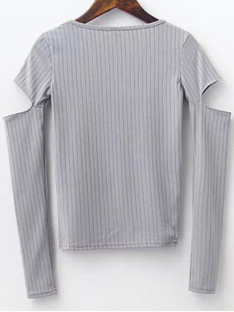 best Split Sleeve Sweater - GRAY S Mobile