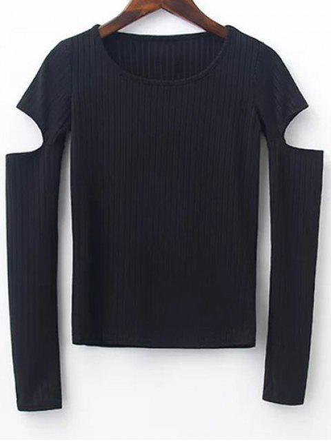 Pullover mit Kerbe an der Hülsen - Schwarz M Mobile