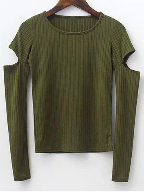 outfit Split Sleeve Sweater - ARMY GREEN S Mobile