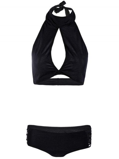 shop Hollow Out High Neck Black Bikini Set - BLACK L Mobile