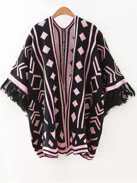 Jacquard Knit Dolman Cardigan - Noir Taille Unique Mobile