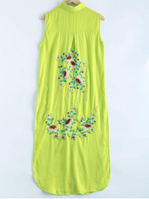 womens Shirt Collar Long Embroidery High Slit Tank Top - GREEN L Mobile