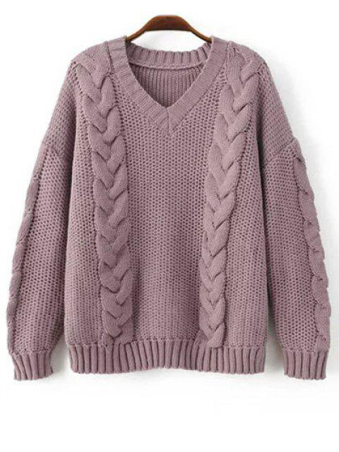 affordable Braid Knit Pullover Sweater - PURPLE ONE SIZE Mobile
