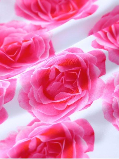 Retour Strappy Floral Imprimer One Piece Maillots de bain - Blanc XL Mobile