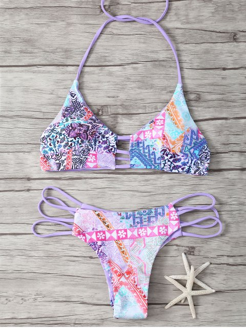Halter Riemchen Netter Print Double Side Bikini Set - Lila M Mobile