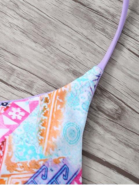 shops Halter Strappy Cute Print Double Side Bikini Set - PURPLE S Mobile