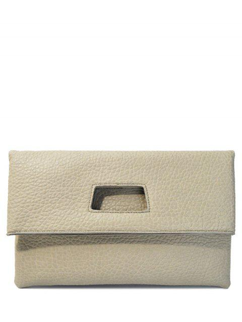 ladies Magnetic Closure Cut Out PU Leather Clutch Bag - LIGHT GRAY  Mobile