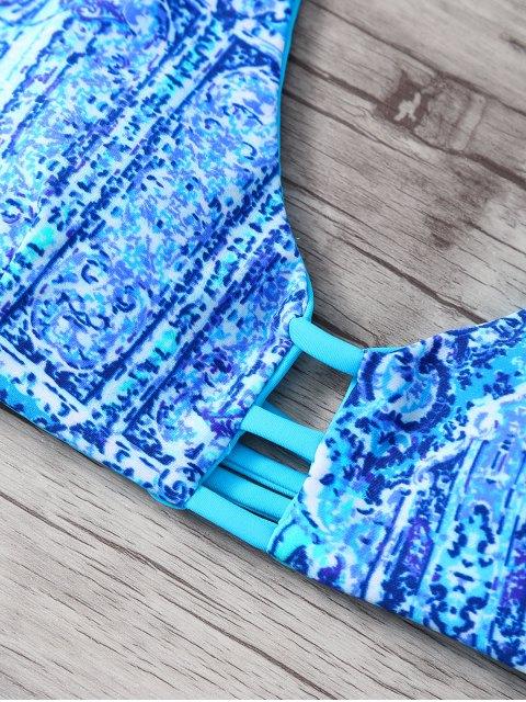 fancy Halter Double Side Strappy Print Bikini Set - BLUE M Mobile