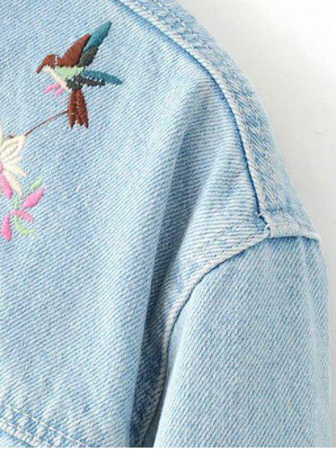 womens Embroidered Bleach Wash Denim Jacket - LIGHT BLUE S Mobile