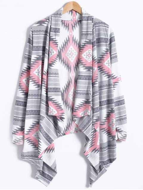 outfit Geometric Pattern Long Sleeve Cashmere Cardigan - LIGHT GRAY M Mobile