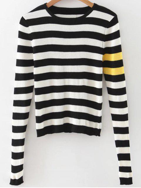 unique Stripe Pullover Sweater - WHITE AND BLACK M Mobile