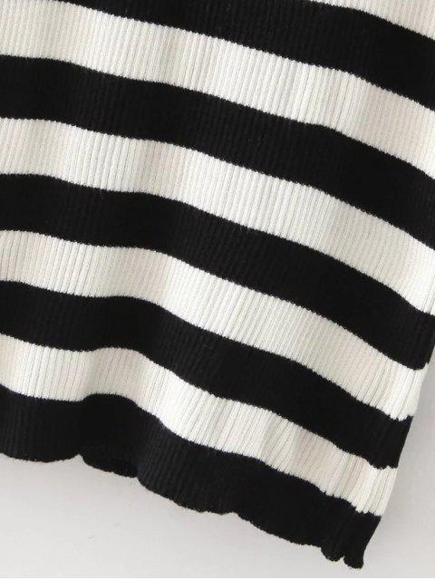 fancy Stripe Pullover Sweater - WHITE AND BLACK L Mobile
