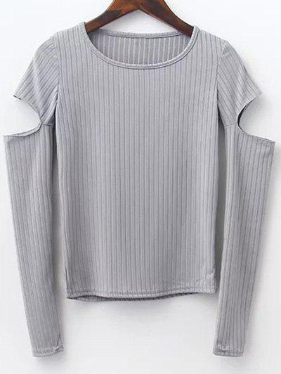 Round Neck Split Sleeve Ribbed Sweater