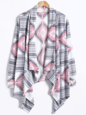 Geometric Pattern Long Sleeve Cashmere Cardigan - Light Gray S