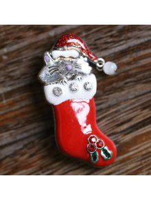 لطيف قبعة عيد الميلاد عيد الميلاد القط الجورب بروش عيد الميلاد - أحمر