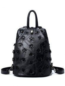 Stitching Rivets Flowers Backpack - Black