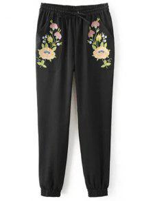 Buy Embroidered Jogging Pants - BLACK L