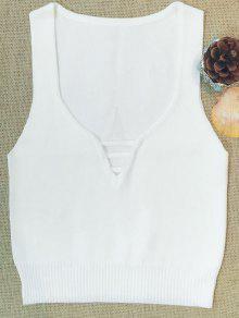 Sin Mangas De Cuello En V Suéter - Blanco M